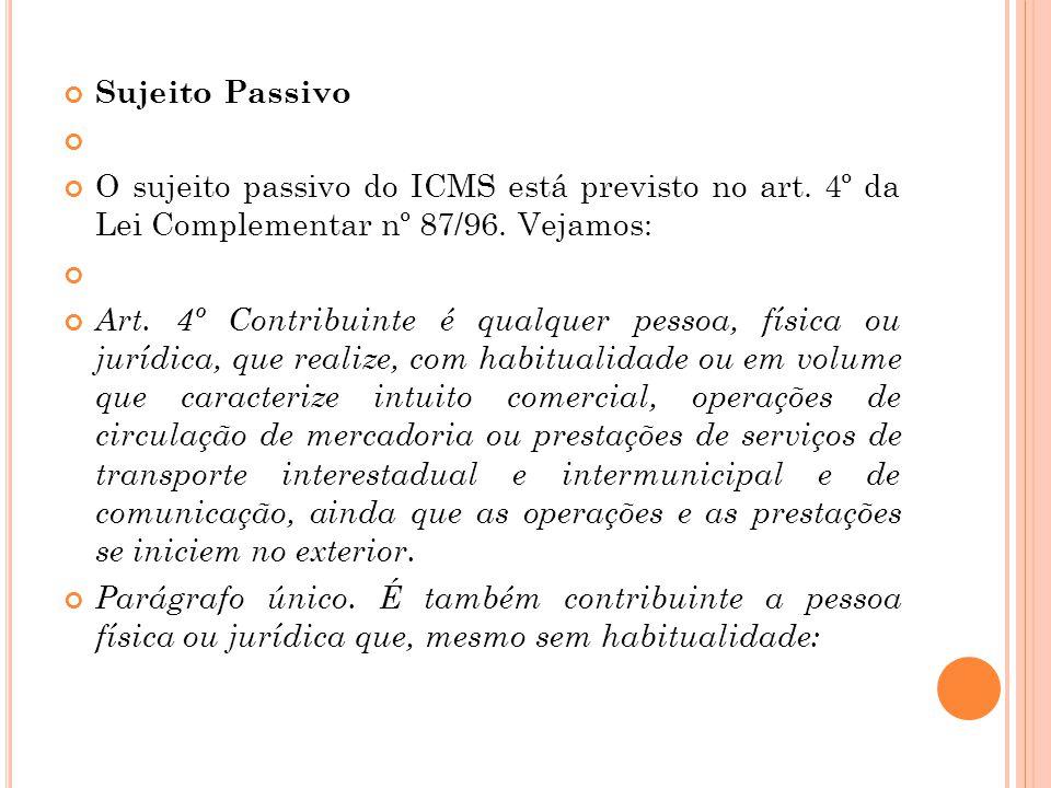 Sujeito Passivo O sujeito passivo do ICMS está previsto no art. 4º da Lei Complementar nº 87/96. Vejamos: Art. 4º Contribuinte é qualquer pessoa, físi