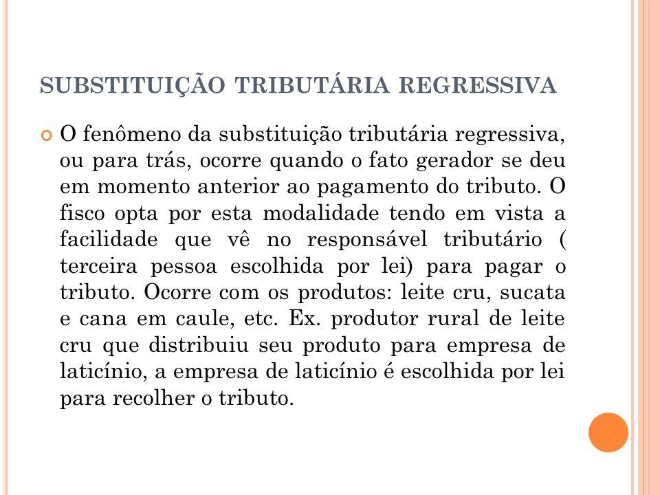 SUBSTITUIÇÃO TRIBUTÁRIA REGRESSIVA O fenômeno da substituição tributária regressiva, ou para trás, ocorre quando o fato gerador se deu em momento ante