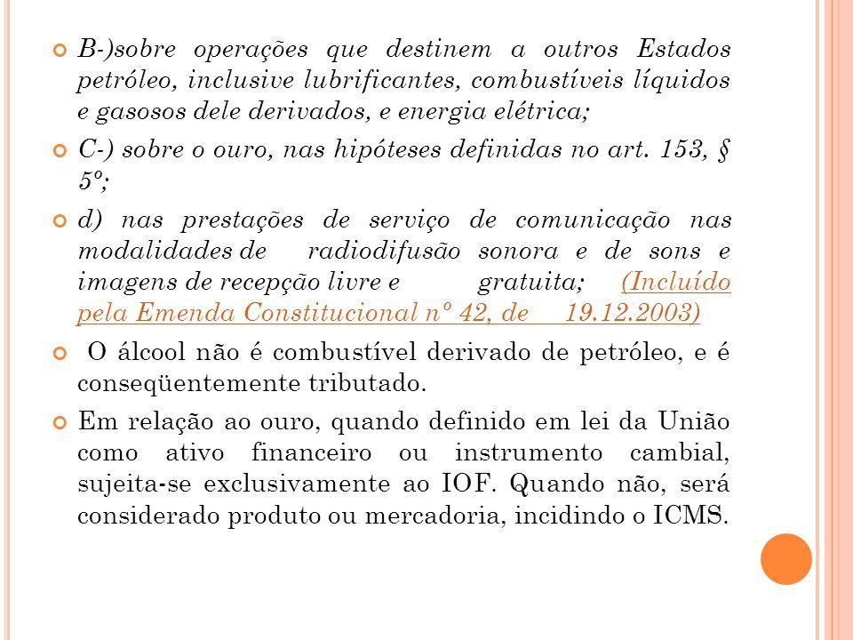 B-)sobre operações que destinem a outros Estados petróleo, inclusive lubrificantes, combustíveis líquidos e gasosos dele derivados, e energia elétrica