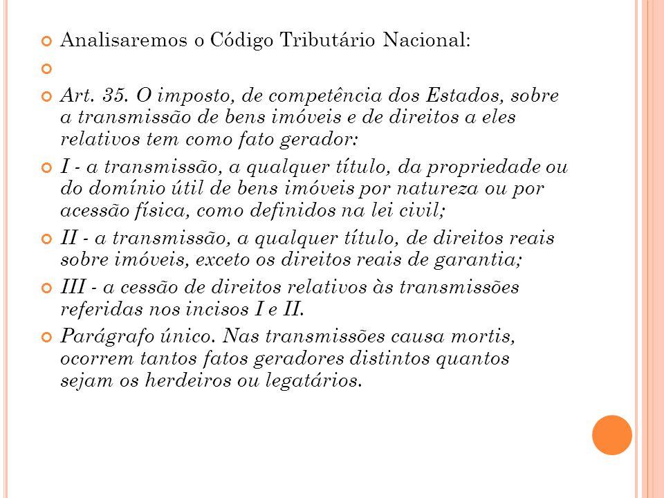 Analisaremos o Código Tributário Nacional: Art. 35. O imposto, de competência dos Estados, sobre a transmissão de bens imóveis e de direitos a eles re