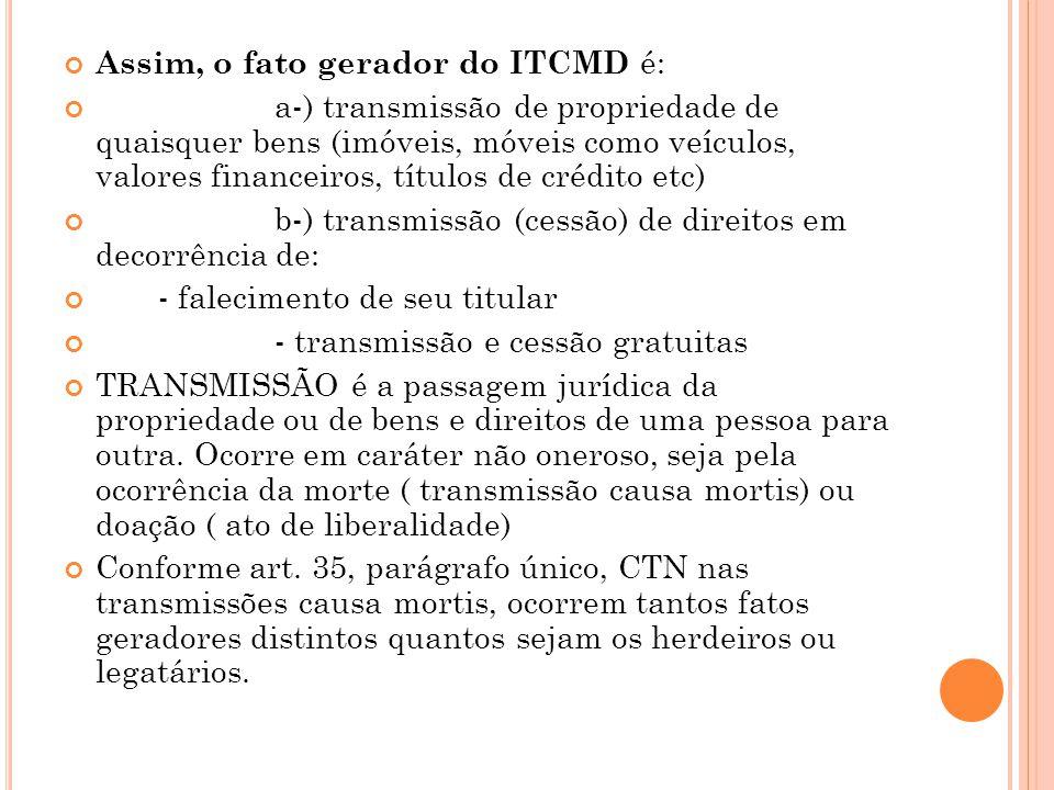 Assim, o fato gerador do ITCMD é: a-) transmissão de propriedade de quaisquer bens (imóveis, móveis como veículos, valores financeiros, títulos de cré