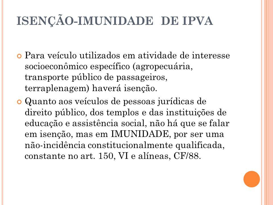 ISENÇÃO-IMUNIDADE DE IPVA Para veículo utilizados em atividade de interesse socioeconômico específico (agropecuária, transporte público de passageiros