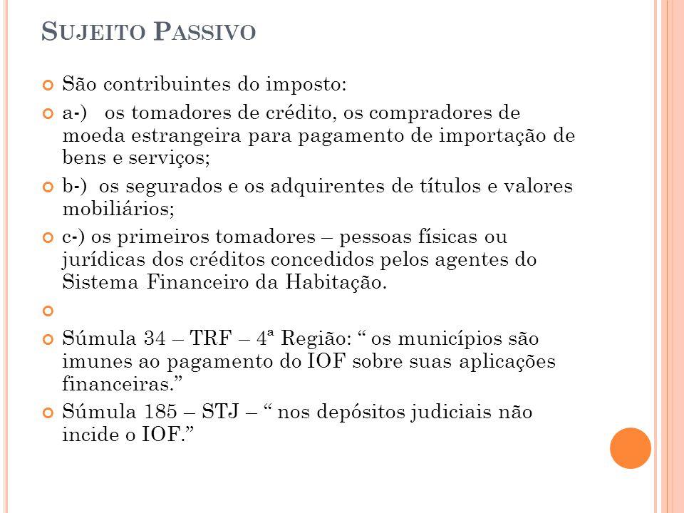 S UJEITO P ASSIVO São contribuintes do imposto: a-) os tomadores de crédito, os compradores de moeda estrangeira para pagamento de importação de bens