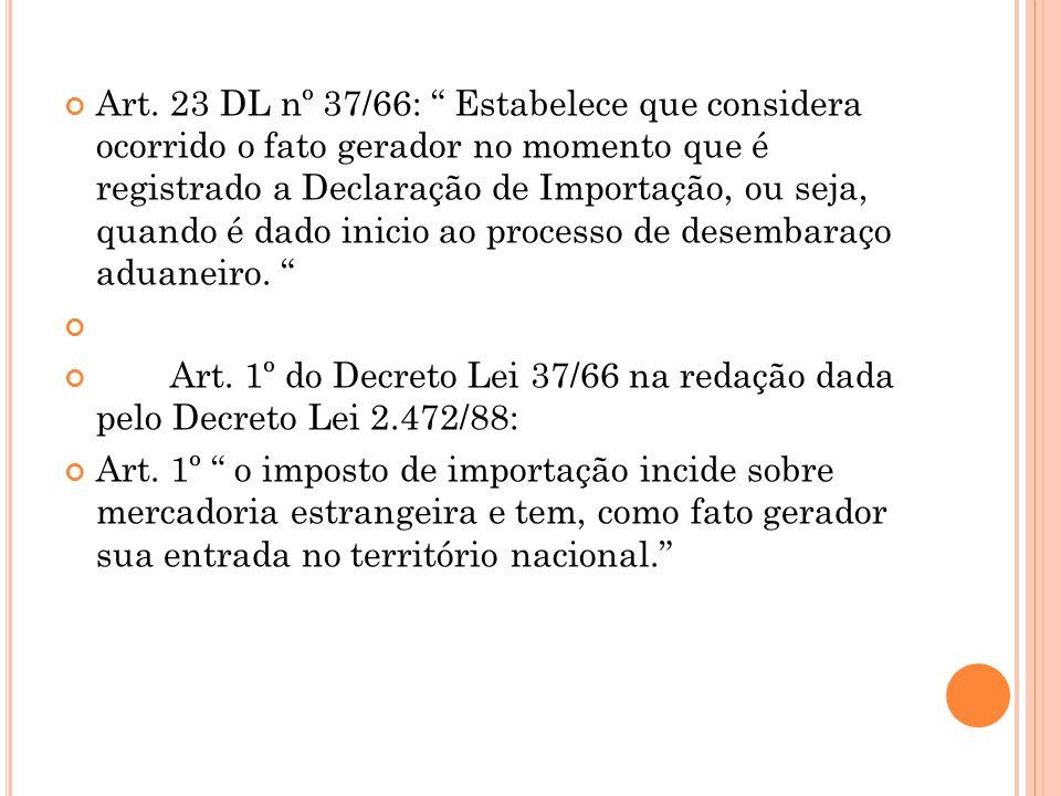 """Art. 23 DL nº 37/66: """" Estabelece que considera ocorrido o fato gerador no momento que é registrado a Declaração de Importação, ou seja, quando é dado"""