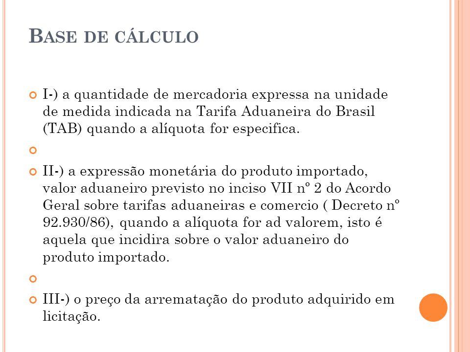 B ASE DE CÁLCULO I-) a quantidade de mercadoria expressa na unidade de medida indicada na Tarifa Aduaneira do Brasil (TAB) quando a alíquota for espec
