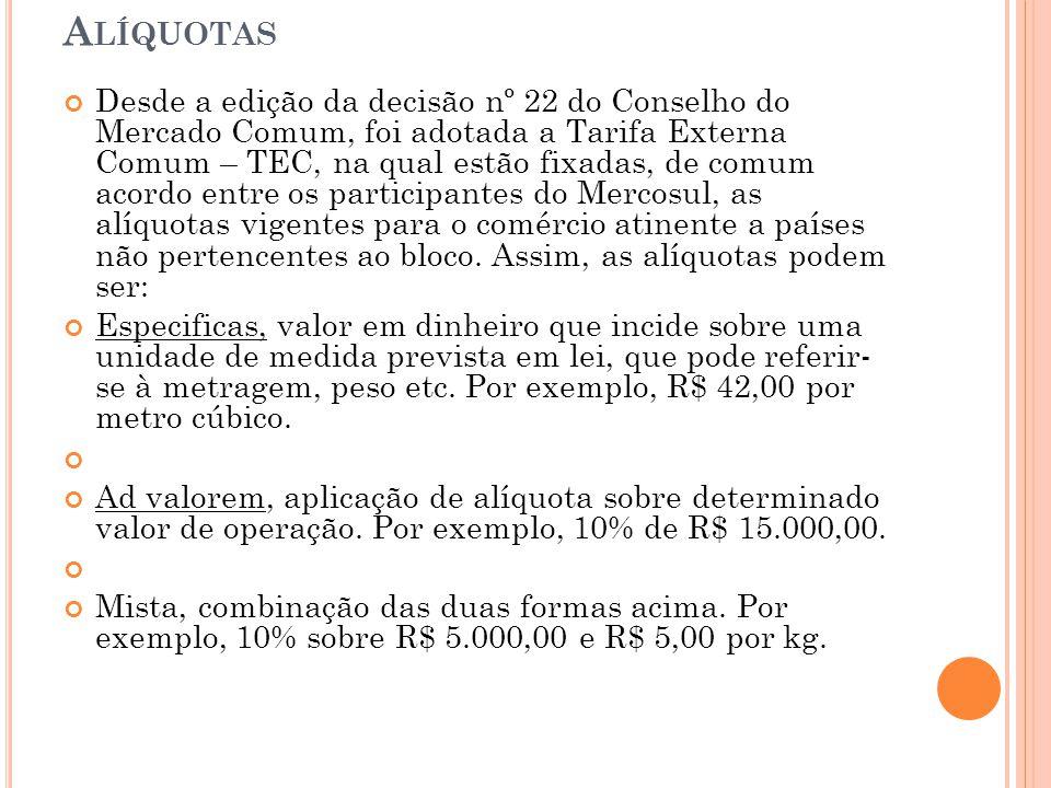 A LÍQUOTAS Desde a edição da decisão nº 22 do Conselho do Mercado Comum, foi adotada a Tarifa Externa Comum – TEC, na qual estão fixadas, de comum aco
