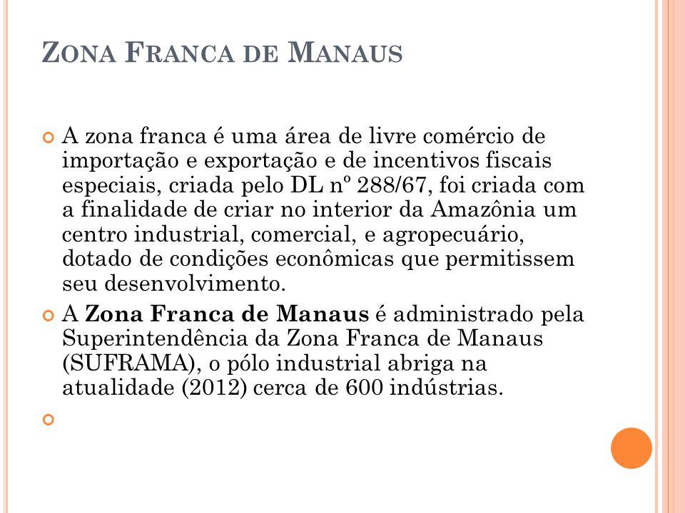 Z ONA F RANCA DE M ANAUS A zona franca é uma área de livre comércio de importação e exportação e de incentivos fiscais especiais, criada pelo DL nº 28