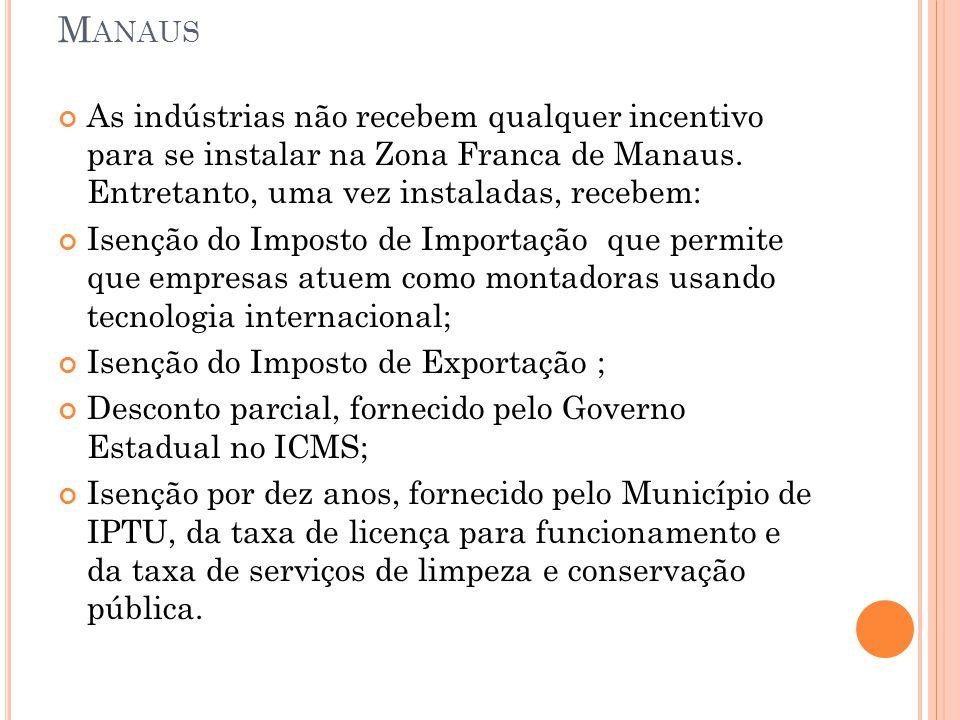 B ENEFÍCIOS FISCAIS - Z ONA F RANCA DE M ANAUS As indústrias não recebem qualquer incentivo para se instalar na Zona Franca de Manaus. Entretanto, uma