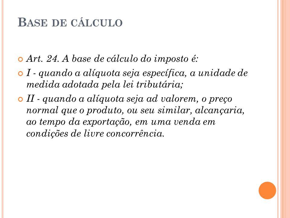 B ASE DE CÁLCULO Art. 24. A base de cálculo do imposto é: I - quando a alíquota seja específica, a unidade de medida adotada pela lei tributária; II -