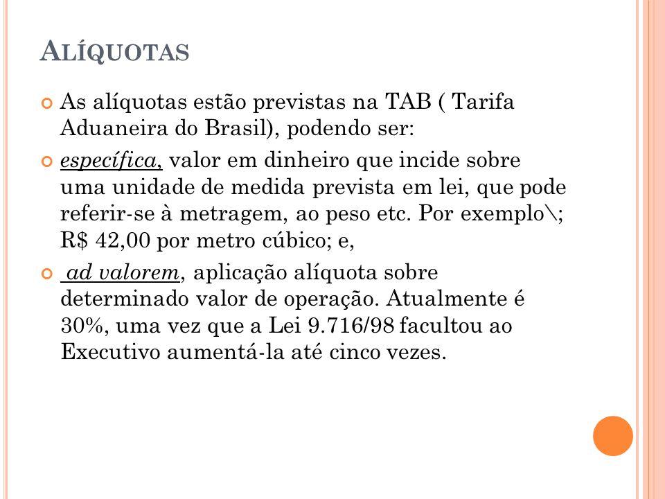 A LÍQUOTAS As alíquotas estão previstas na TAB ( Tarifa Aduaneira do Brasil), podendo ser: específica, valor em dinheiro que incide sobre uma unidade