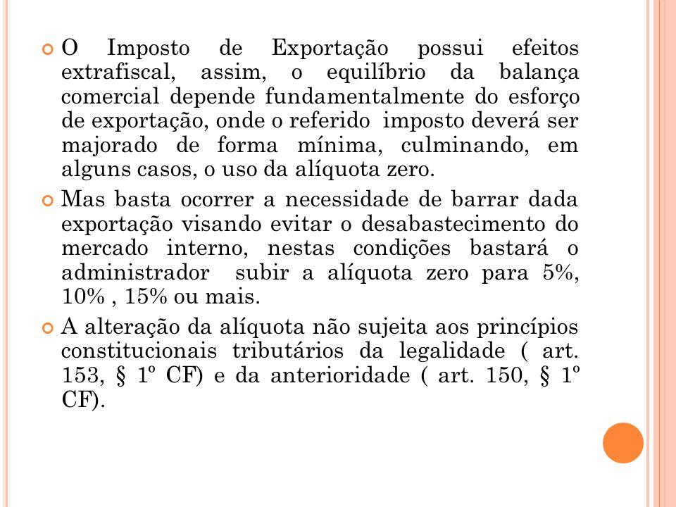 O Imposto de Exportação possui efeitos extrafiscal, assim, o equilíbrio da balança comercial depende fundamentalmente do esforço de exportação, onde o