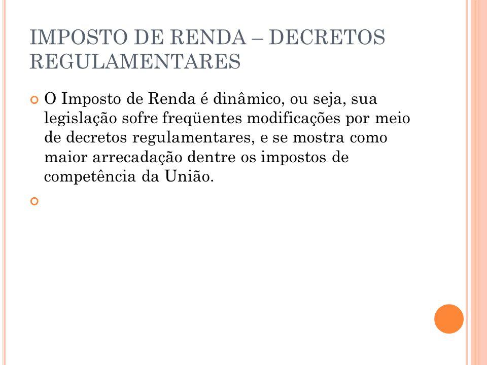 IMPOSTO DE RENDA – DECRETOS REGULAMENTARES O Imposto de Renda é dinâmico, ou seja, sua legislação sofre freqüentes modificações por meio de decretos r