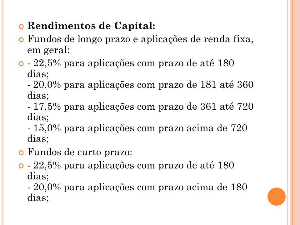 Rendimentos de Capital: Fundos de longo prazo e aplicações de renda fixa, em geral: - 22,5% para aplicações com prazo de até 180 dias; - 20,0% para ap