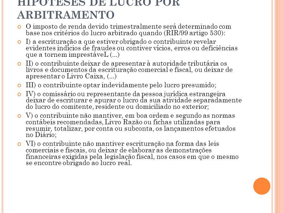 HIPÓTESES DE LUCRO POR ARBITRAMENTO O imposto de renda devido trimestralmente será determinado com base nos critérios do lucro arbitrado quando (RIR/9