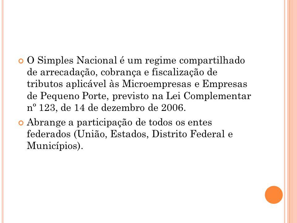O Simples Nacional é um regime compartilhado de arrecadação, cobrança e fiscalização de tributos aplicável às Microempresas e Empresas de Pequeno Port