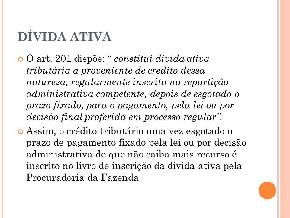 """DÍVIDA ATIVA O art. 201 dispõe: """" constitui divida ativa tributária a proveniente de credito dessa natureza, regularmente inscrita na repartição admin"""
