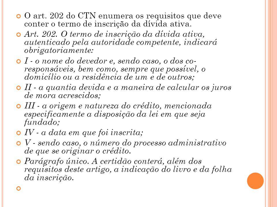 O art. 202 do CTN enumera os requisitos que deve conter o termo de inscrição da dívida ativa. Art. 202. O termo de inscrição da dívida ativa, autentic