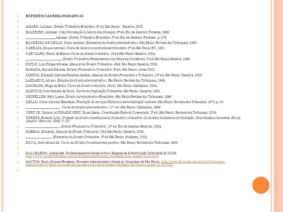 REFERÊNCIAS BIBLIOGRAFICAS AMARO, Luciano. Direito Tributário Brasileiro. 9ª ed. São Paulo: Saraiva, 2003. BALEEIRO, Aliomar. Uma Introdução à ciência