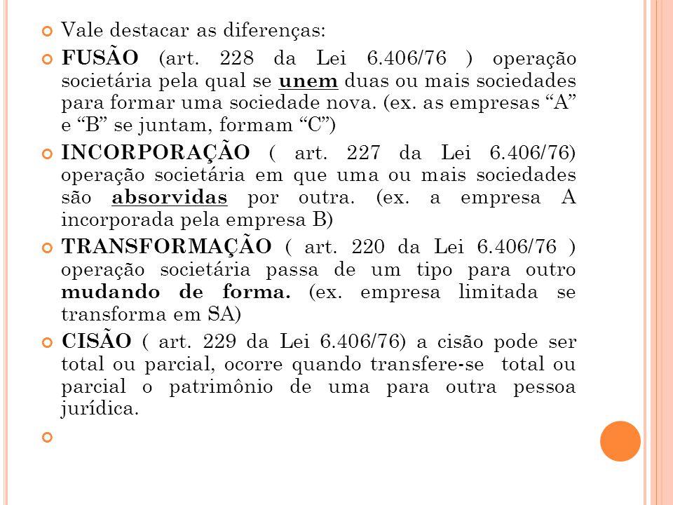 Vale destacar as diferenças: FUSÃO (art. 228 da Lei 6.406/76 ) operação societária pela qual se unem duas ou mais sociedades para formar uma sociedade