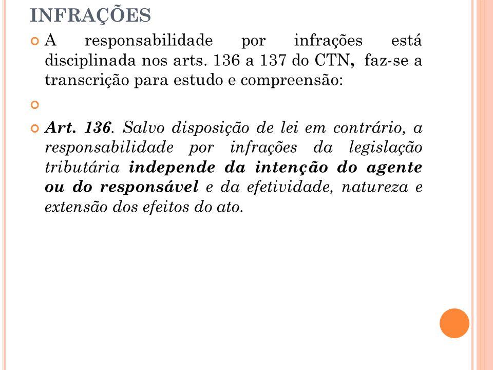 RESPONSABILIDADE POR INFRAÇÕES A responsabilidade por infrações está disciplinada nos arts. 136 a 137 do CTN, faz-se a transcrição para estudo e compr