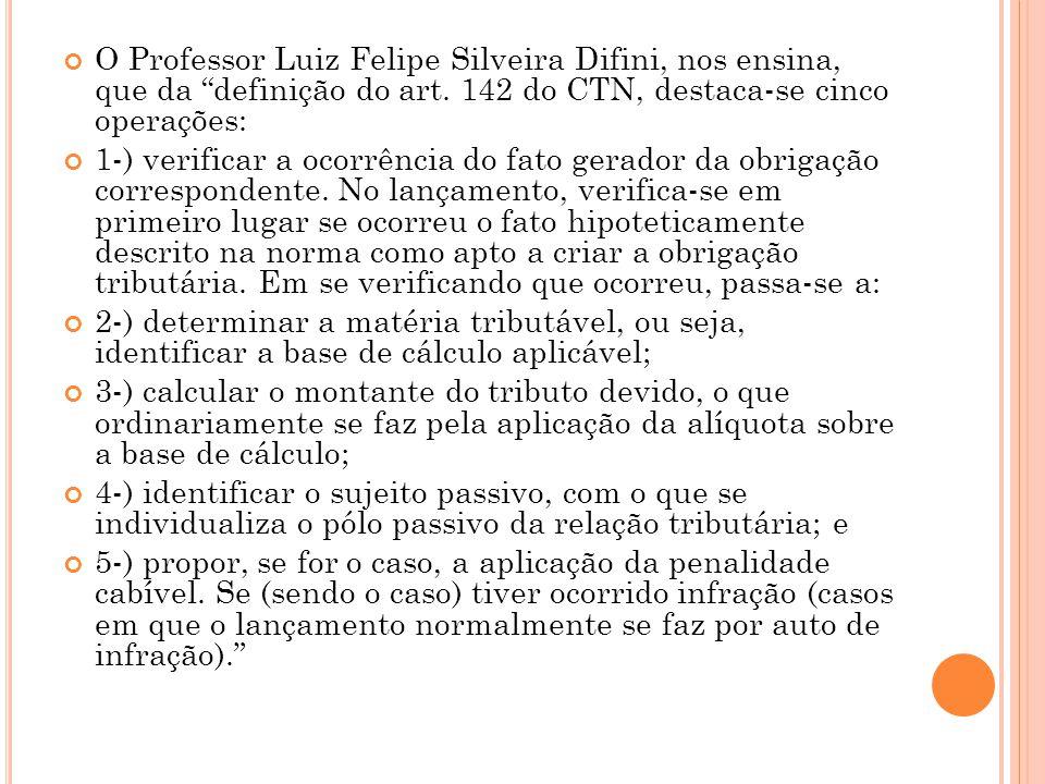 """O Professor Luiz Felipe Silveira Difini, nos ensina, que da """"definição do art. 142 do CTN, destaca-se cinco operações: 1-) verificar a ocorrência do f"""