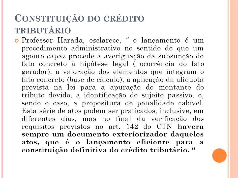 """C ONSTITUIÇÃO DO CRÉDITO TRIBUTÁRIO Professor Harada, esclarece, """" o lançamento é um procedimento administrativo no sentido de que um agente capaz pro"""