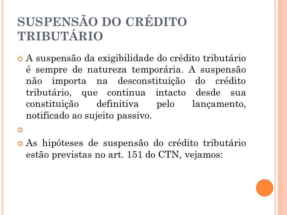 SUSPENSÃO DO CRÉDITO TRIBUTÁRIO A suspensão da exigibilidade do crédito tributário é sempre de natureza temporária. A suspensão não importa na descons