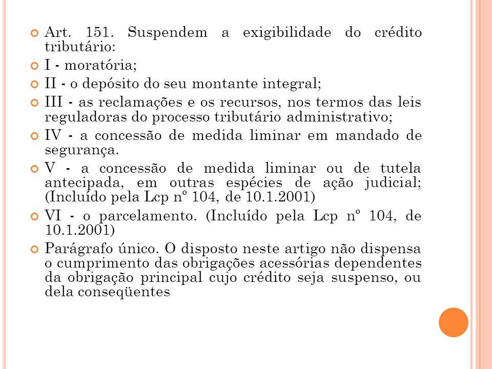 Art. 151. Suspendem a exigibilidade do crédito tributário: I - moratória; II - o depósito do seu montante integral; III - as reclamações e os recursos