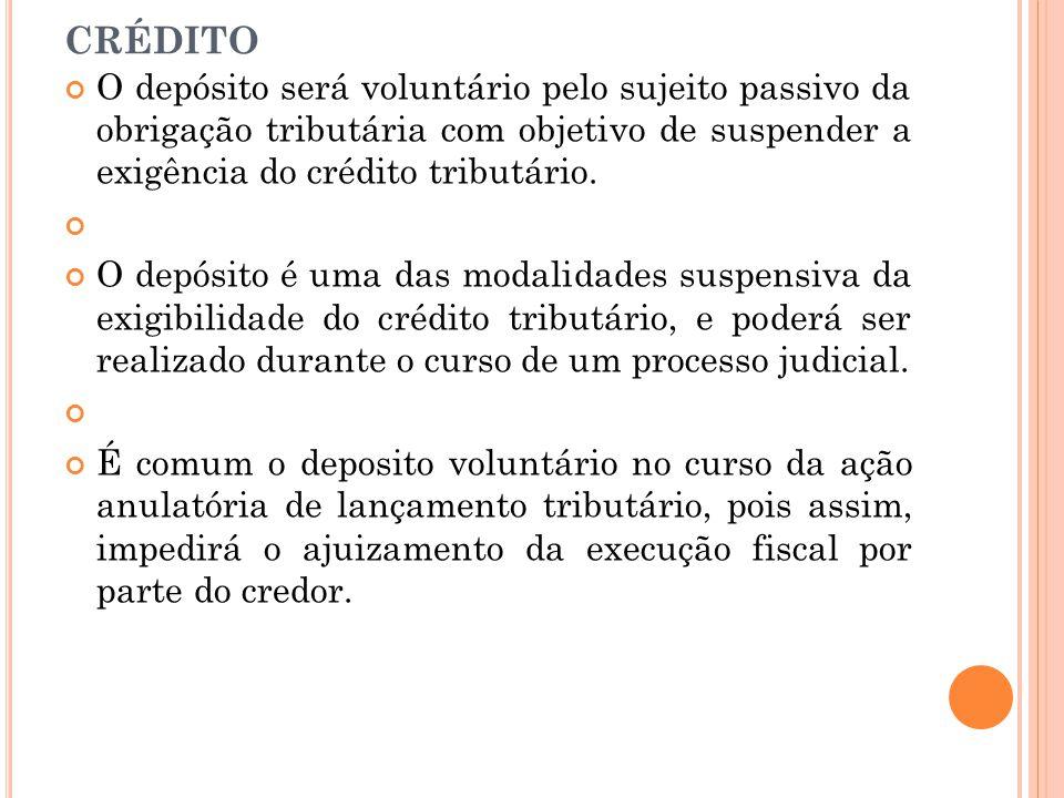 D EPÓSITO DO VALOR INTEGRAL DO CRÉDITO O depósito será voluntário pelo sujeito passivo da obrigação tributária com objetivo de suspender a exigência d