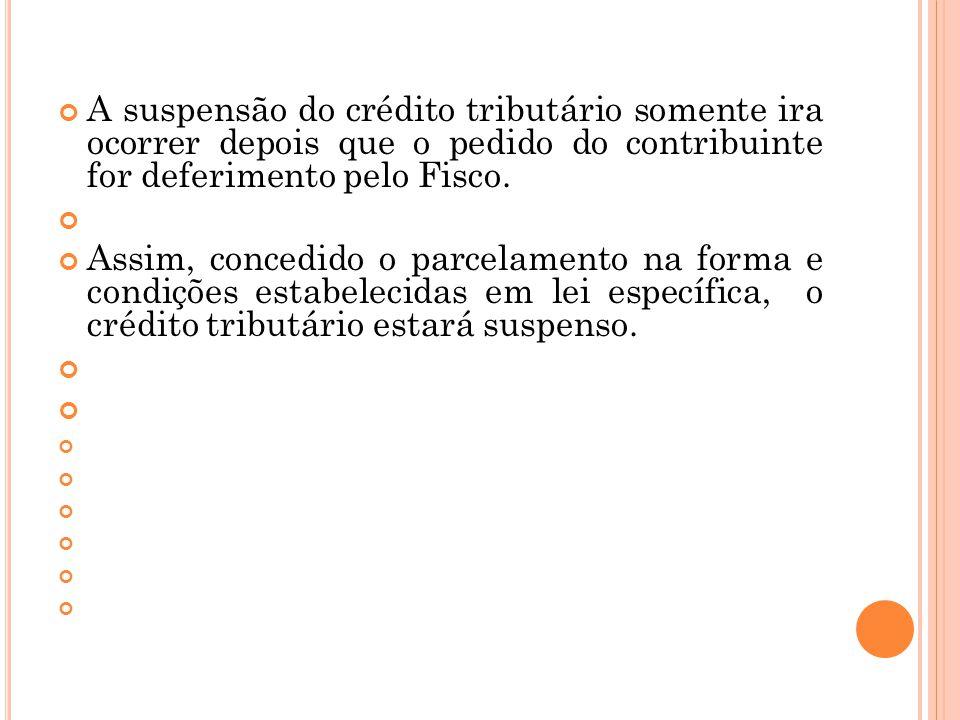 A suspensão do crédito tributário somente ira ocorrer depois que o pedido do contribuinte for deferimento pelo Fisco. Assim, concedido o parcelamento