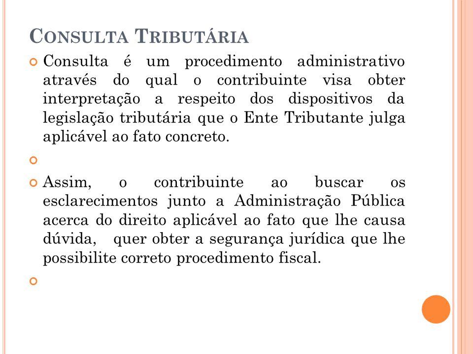 C ONSULTA T RIBUTÁRIA Consulta é um procedimento administrativo através do qual o contribuinte visa obter interpretação a respeito dos dispositivos da