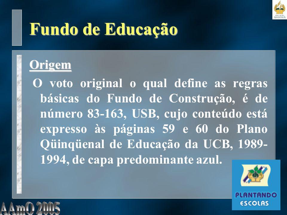 Fundo de Educação Origem O voto original o qual define as regras básicas do Fundo de Construção, é de número 83-163, USB, cujo conteúdo está expresso às páginas 59 e 60 do Plano Qüinqüenal de Educação da UCB, 1989- 1994, de capa predominante azul.
