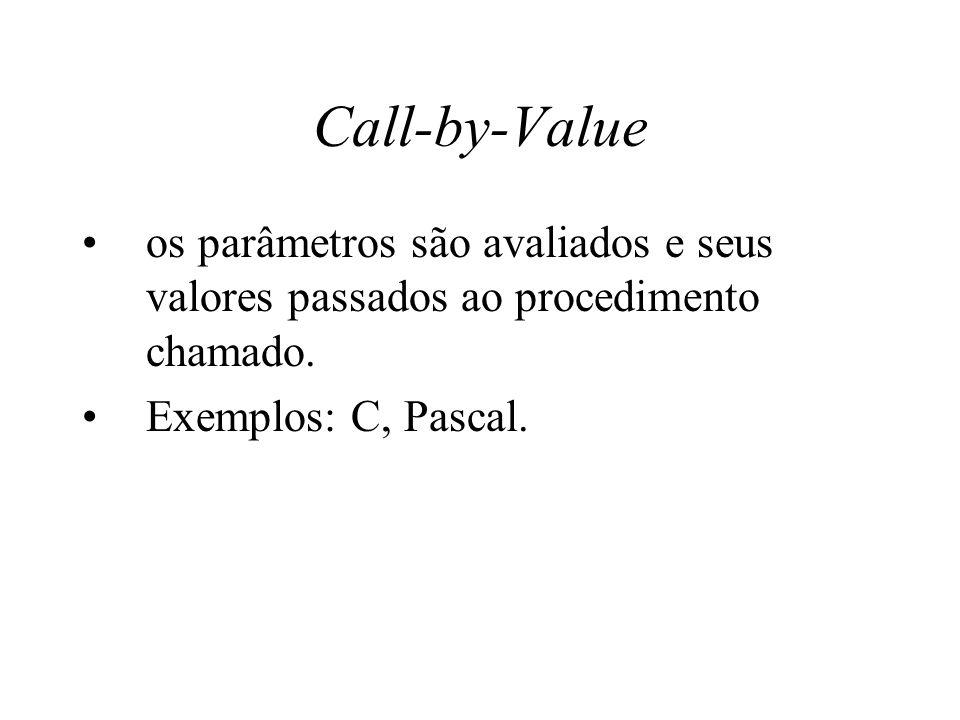 Call-by-Value os parâmetros são avaliados e seus valores passados ao procedimento chamado. Exemplos: C, Pascal.