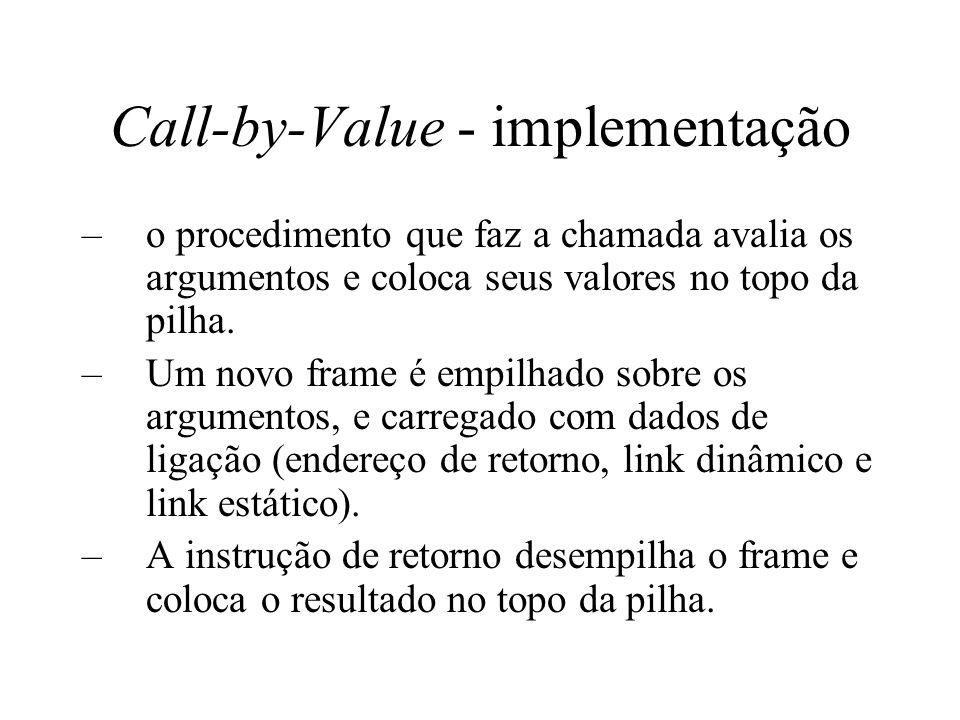 Call-by-Value - implementação –o procedimento que faz a chamada avalia os argumentos e coloca seus valores no topo da pilha. –Um novo frame é empilhad