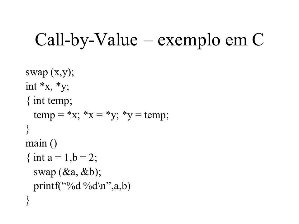 Call-by-Reference parâmetros são passados por referência, i.e.