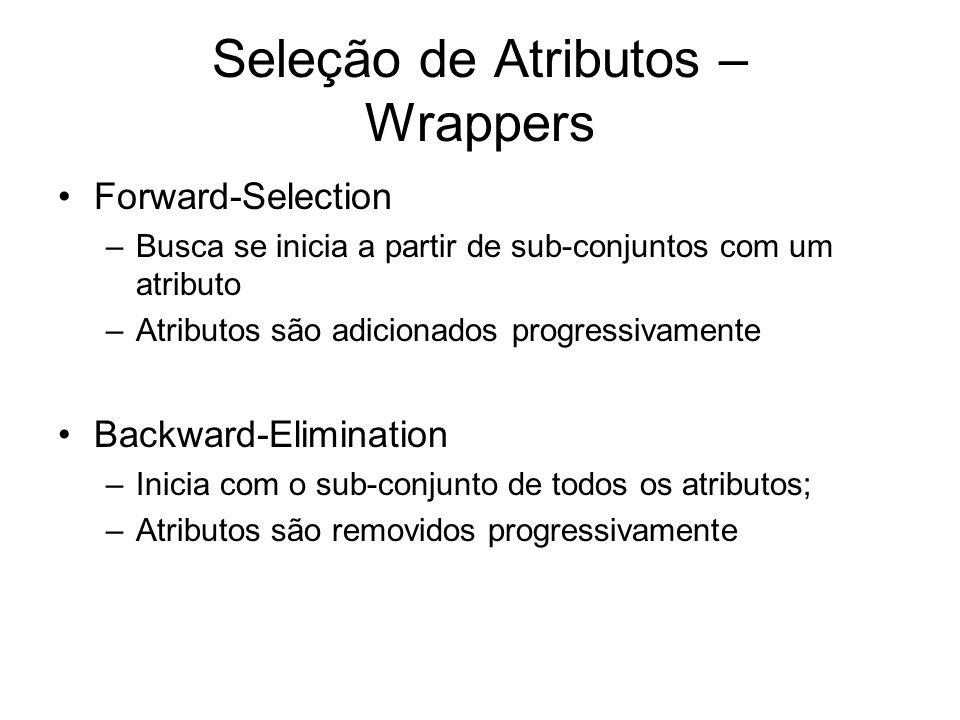 Seleção de Atributos – Wrappers Forward-Selection –Busca se inicia a partir de sub-conjuntos com um atributo –Atributos são adicionados progressivamente Backward-Elimination –Inicia com o sub-conjunto de todos os atributos; –Atributos são removidos progressivamente