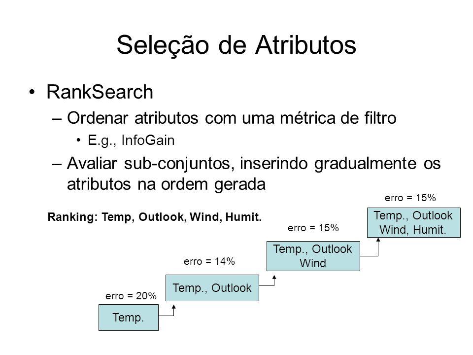 Seleção de Atributos RankSearch –Ordenar atributos com uma métrica de filtro E.g., InfoGain –Avaliar sub-conjuntos, inserindo gradualmente os atributos na ordem gerada Ranking: Temp, Outlook, Wind, Humit.