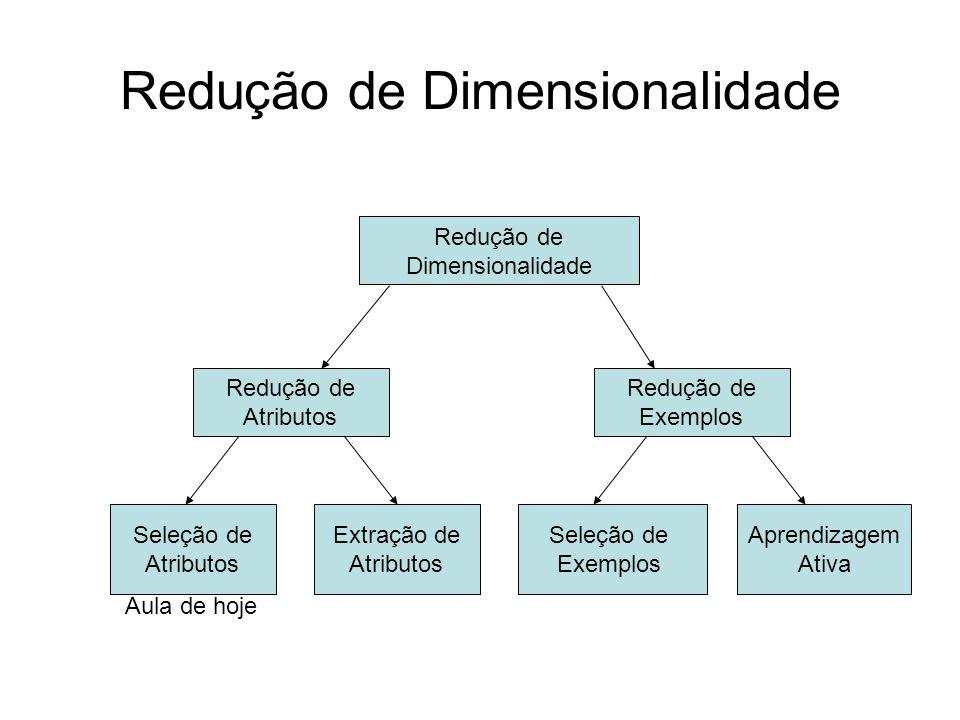 Redução de Dimensionalidade Redução de Dimensionalidade Redução de Atributos Seleção de Atributos Extração de Atributos Redução de Exemplos Aula de hoje Seleção de Exemplos Aprendizagem Ativa