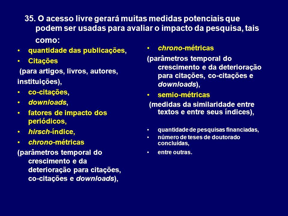 35. O acesso livre gerará muitas medidas potenciais que podem ser usadas para avaliar o impacto da pesquisa, tais como: quantidade das publicações, Ci