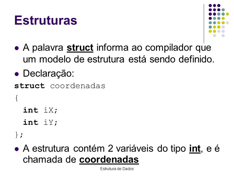 Estrutura de Dados Declaração struct identificador { tipo1nome1; tipo2nome2;...