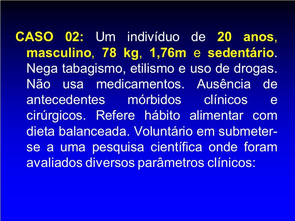 CASO 02: Um indivíduo de 20 anos, masculino, 78 kg, 1,76m e sedentário. Nega tabagismo, etilismo e uso de drogas. Não usa medicamentos. Ausência de an