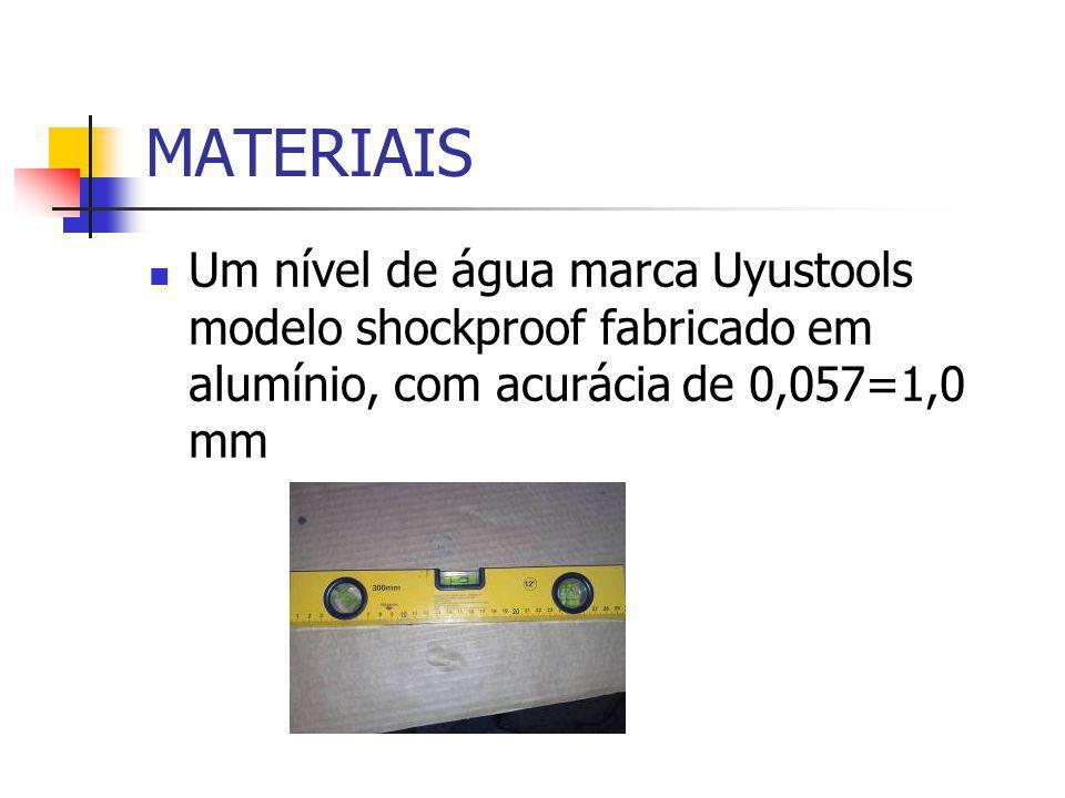 MATERIAIS Um nível de água marca Uyustools modelo shockproof fabricado em alumínio, com acurácia de 0,057=1,0 mm