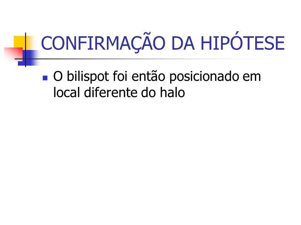 CONFIRMAÇÃO DA HIPÓTESE O bilispot foi então posicionado em local diferente do halo