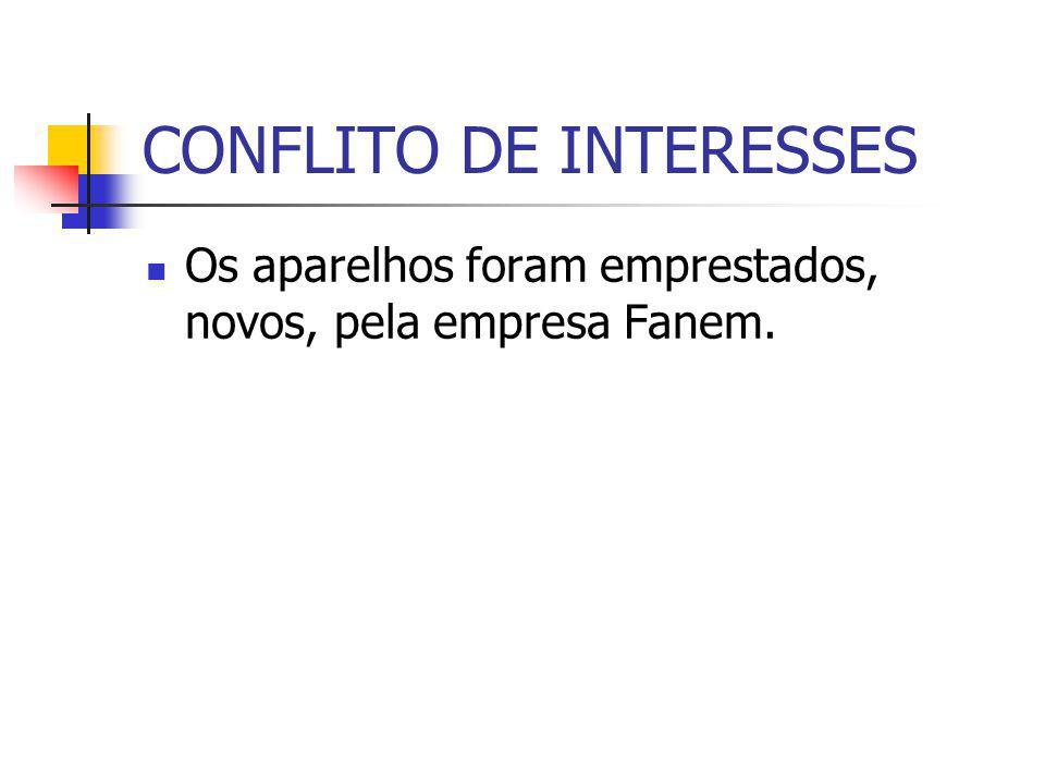 CONFLITO DE INTERESSES Os aparelhos foram emprestados, novos, pela empresa Fanem.