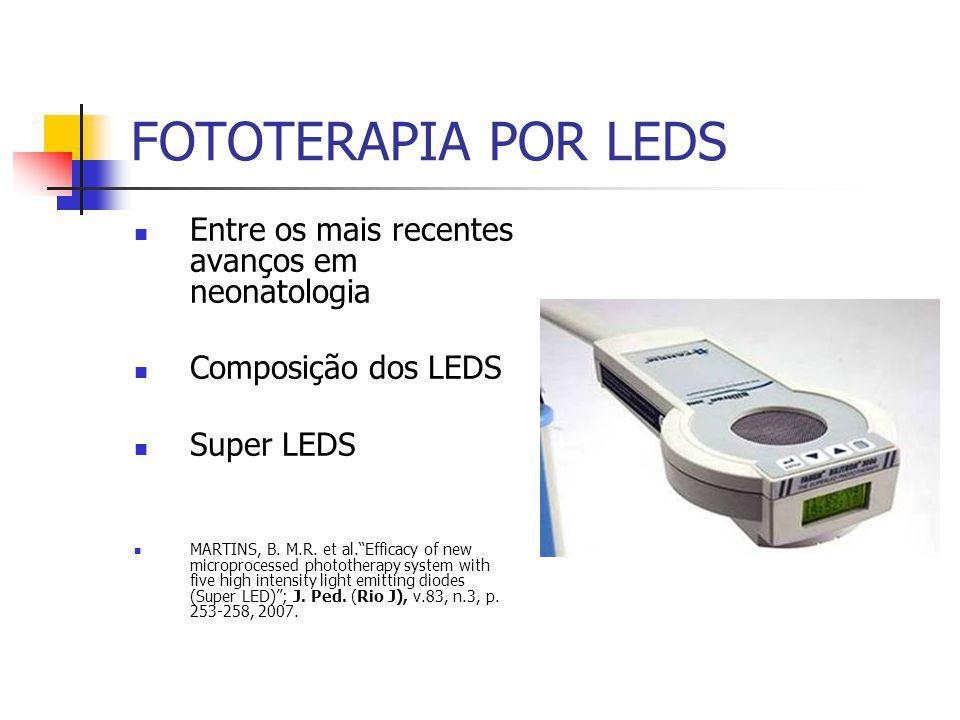 FOTOTERAPIA POR LEDS Entre os mais recentes avanços em neonatologia Composição dos LEDS Super LEDS MARTINS, B.