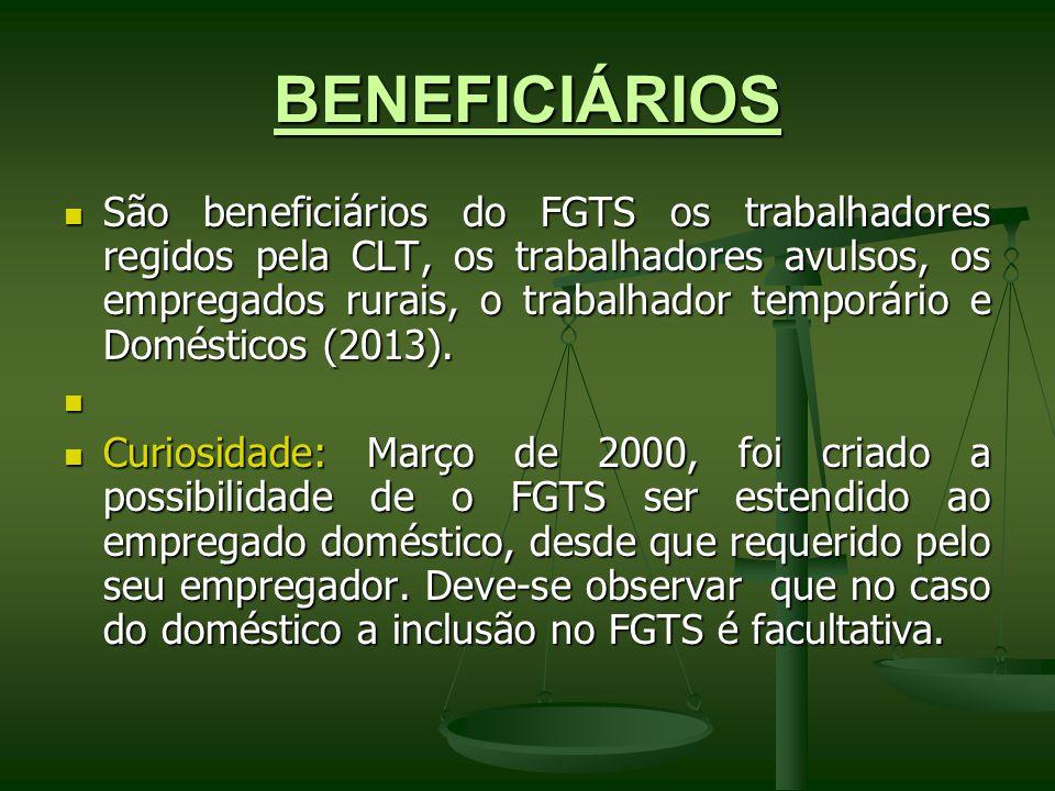 BENEFICIÁRIOS São beneficiários do FGTS os trabalhadores regidos pela CLT, os trabalhadores avulsos, os empregados rurais, o trabalhador temporário e