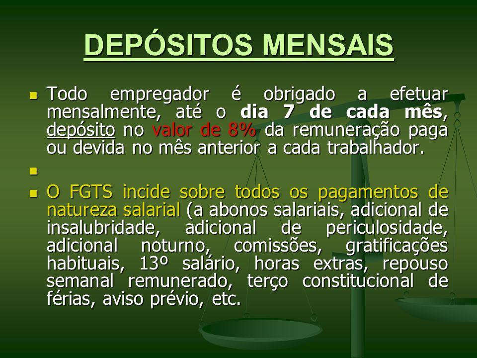 O depósito na conta vinculada do FGTS é obrigatório também, no valor de 8%, nos casos de afastamento para prestação do serviço militar obrigatório e licença por acidente do trabalho (art.