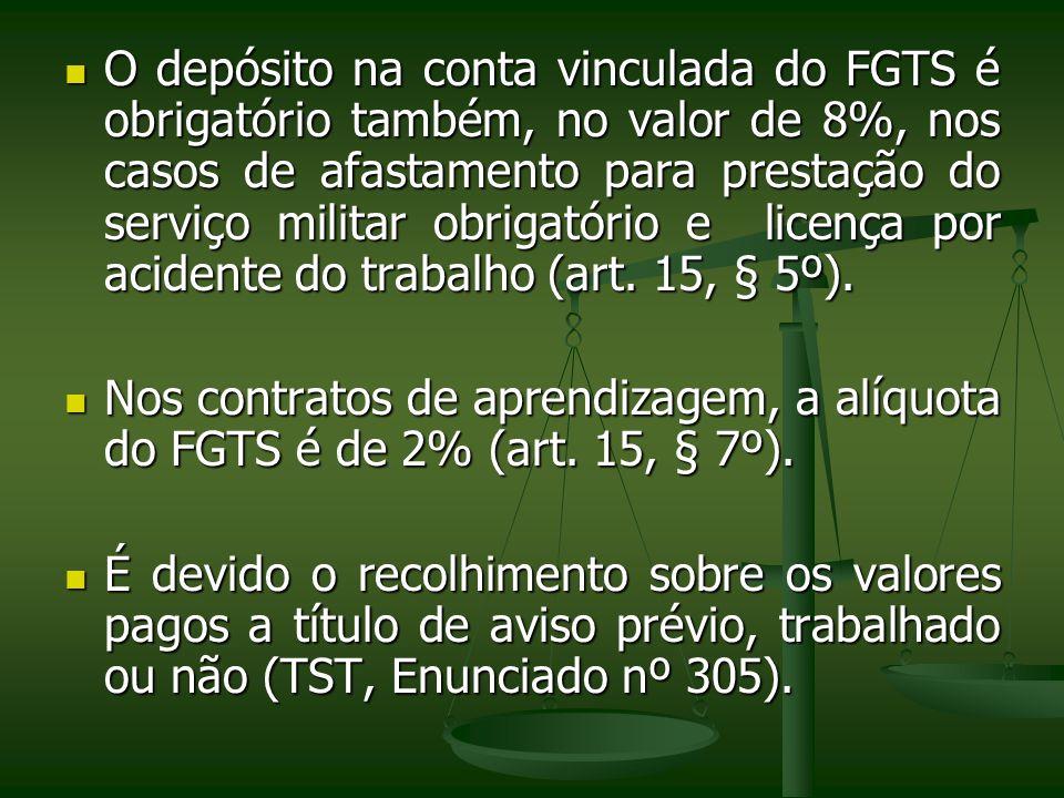 O depósito na conta vinculada do FGTS é obrigatório também, no valor de 8%, nos casos de afastamento para prestação do serviço militar obrigatório e l