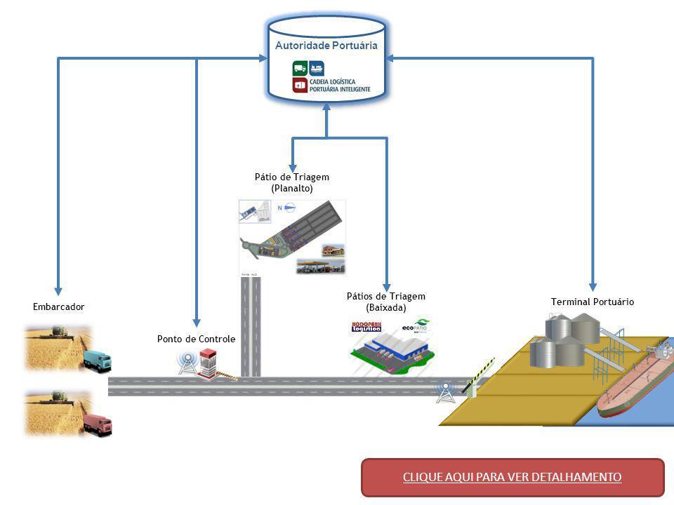 Pontos de Controle Embarcador Autoridade Portuária Pátio de Triagem (Planalto) Pátios de Triagem (Baixada) Terminal Portuário PASSO 1 O terminal portuário informa à Autoridade Portuária, com antecedência, a quantidade de veículos que espera receber.