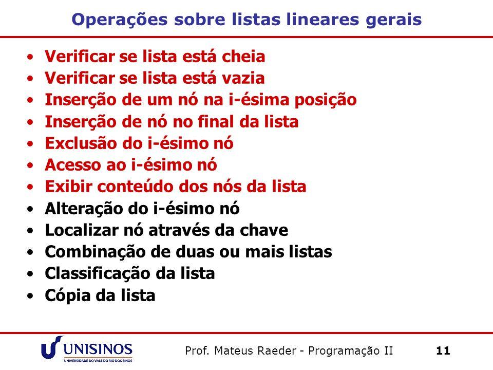 Prof. Mateus Raeder - Programação II 11 Operações sobre listas lineares gerais Verificar se lista está cheia Verificar se lista está vazia Inserção de